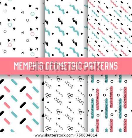 Abstract Memphis Style Seamless Pattern Set Stock Vector