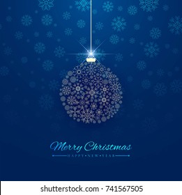 Abstract Merry Christmas blue background vector