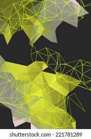 Abstract mesh background with lines and shapes. Futuristic polygonal  design