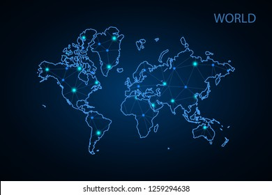 Abstract mesh line and point Scales on hexagon dark background with Map World. Wire frame 3D mesh polygonal network line, design sphere, dot and structure. Vector illustration eps 10. - Vector