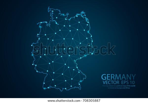 Abstrakte Maschenlinie und Punktwaage auf dunklem Hintergrund mit Karte von Deutschland. Drahtrahmen 3D Mesh Polygonnetz Linie, Design-Kugel, Punkt und Struktur. Vektorgrafik eps10.