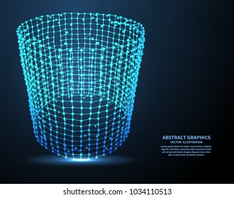 Abstract mesh polygonal element, technology background. Network connections with points and lines. Abstract vector illustration.