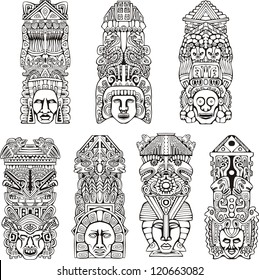 Abstract mesoamerican aztec totem poles. Set of black and white vector illustrations.