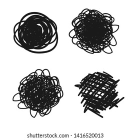 Abstract messy line vector illustration. Hand drawn design element. Child drawing skill.
