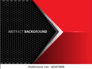 Abstract metal arrow on red gray hexagon mesh pattern design modern luxury futuristic creative idea background vector illustration.