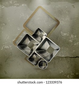 Abstract metal background, old-style vector
