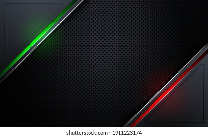Abstract metal background with red and green light raster plate. Beehive steel plate texture. Vector illustration.