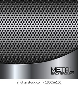Abstract metal background with steel silver chrome surface and perforation vector illustration