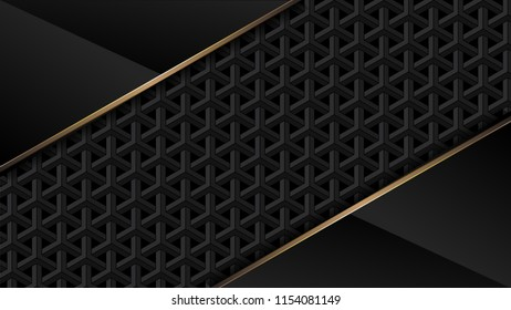 Abstract metal and gold line luxury design background vector illustration.