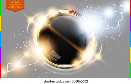 Abstract metal golden ring power science transparent background. Electric shine round tech frame black glossy space, energy lightning. Light effect with sparks. Fiction vector glowing round