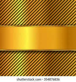Abstract metal vector background. Polished panel, grid or striped, brushed gold illustration