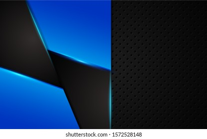 Abstract metallic blue and black on hexagon pattern, frame design innovation technology concept layout background. Vector template for use element cover, banner, wallpaper, presentation, flyer
