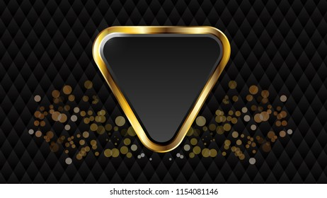 The abstract metallic Gold shape triangle on gray hexagon mesh design luxury modern background vector illustration.