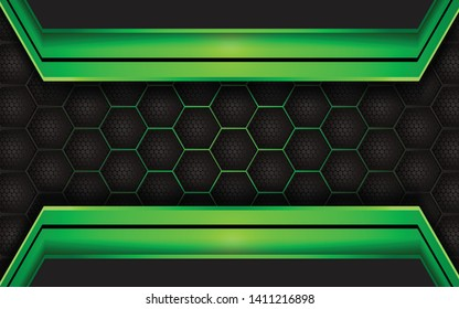 Abstract metallic green and black frame layout design tech innovation concept background for wallpaper, brochure, cover, banner, advertising, corporate. Layer on for text and background design