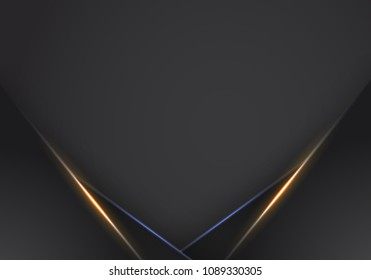abstract metallic Orange black frame layout modern tech design template background , Orange and Blue light Neon background. modern futuristic background vector graphic template design.