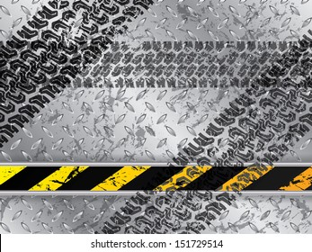Abstract metallic plate background with tire tracks