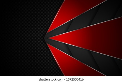 Abstract metallic red and black on hexagon pattern, frame design innovation technology concept layout background. Vector template for use element cover, banner, wallpaper, presentation, flyer