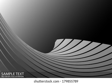 Abstract metallic space vector background illustration - Abstract curved hill vector metal background