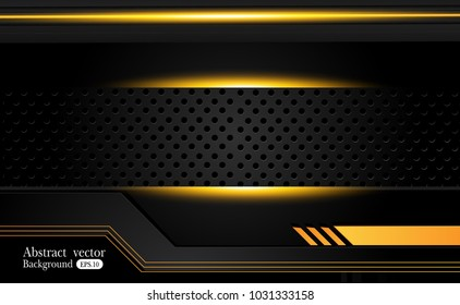 abstract metallic Yellow orange black frame design innovation concept layout background.Vector digital art.
