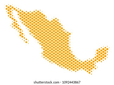Abstract Mexico map. Vector halftone territory scheme. Cartographic dot concept. Schematic Mexico map is composed from regular spheric element grid.
