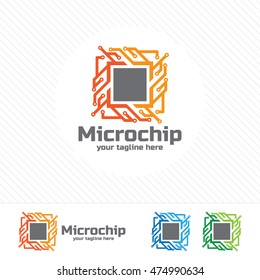 Abstract micro chip symbol logo . processor icon with technology element vector.