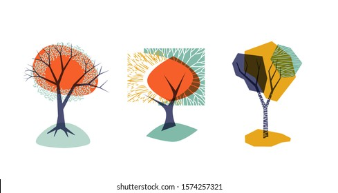 Abstract mid century modern poster design. Stylized trees. Eps10 vector.