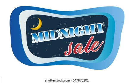Abstract Midnight Sale Concept with moon in Dark sky, vector art and illustration