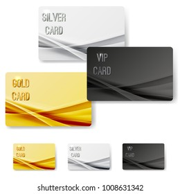 Abstract mild wave pattern vip membership cards collection. Golden, silver, platinum metallic customer satisfaction certificates set. Vector illustration