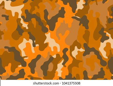 Abstract military or hunting camouflage background. Woodland  camo texture vector. Orange tone stlye.