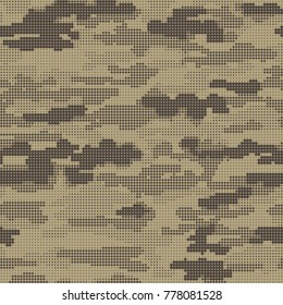 Abstract military or hunting camouflage background. Seamless pattern. Sandy, deserted, mountain camouflage. Dotes shapes. Camo. Vector illustration.