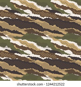 Abstract mimetic dotted camouflage wallpaper vector seamless pattern