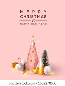 Abstract minimal background with 3D Christmas trees. New Year cone shape trees. Xmas decorative ornaments, realistic render objects. Design Greeting card, Christmas background, poster, banner.