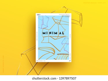 Abstract minimal background. Geometric 3d shapes. Modern poster Design Art composition realistic metal golden objects. yellow and blue color