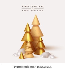 Abstract minimal background with golden 3D Christmas trees. New Year cone shape trees. Xmas decorative ornaments, realistic render objects. Design Greeting card, Christmas background, poster, banner.