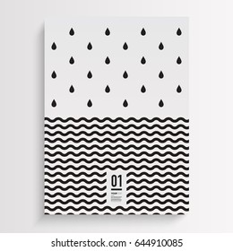 Abstract minimal black and white flyer design with rain drops and wave lines background Eps 10 stock vector illustration