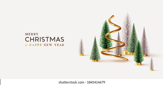 Abstract minimal christmas design, golden metallic cone spiral tree, realistic holiday green and white fir pine-tree. Xmas decorative 3D objects. Christmas and New Year background. vector illustration