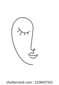 Abstract minimal faces. Continuous line drawing.