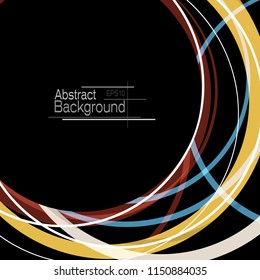 Abstract minimal geometric round circle shapes design black background with copy space