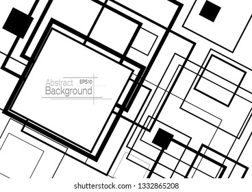 Abstract minimal geometric square shapes design background with copy space in black
