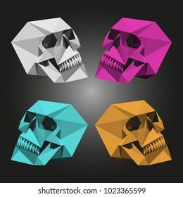 Abstract minimal low poly skulls