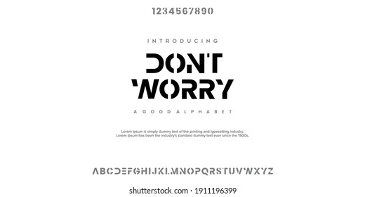 Abstract minimal modern alphabet fonts. Typography technology vector illustration