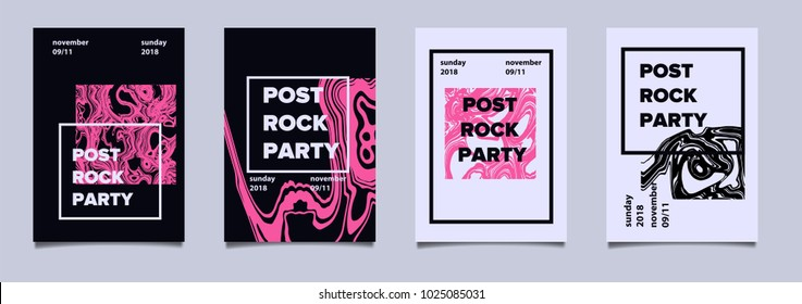 Abstract minimal poster set for music event.
