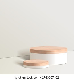 Abstract minimal scene with geometric forms. cylinder wood podium in white background. product presentation, mock up, show cosmetic product, Podium, stage pedestal or platform. 3d vector