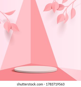 Abstract minimal scene with geometric forms. cylinder podium in pink background with pink plant leaves. product presentation, mockup, show product, podium, stage pedestal or platform. 3d vector
