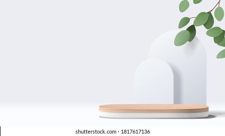 Abstract minimal scene with geometric forms. wood podium in white background with leaves. product presentation, mock up, show cosmetic product display, Podium, stage pedestal or platform. 3d vector - Shutterstock ID 1817617136