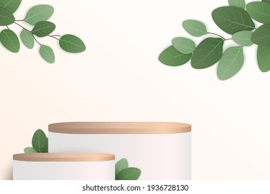 Abstract minimal scene with geometric forms. cylinder wood podium in black background with leaves. product presentation, mock up, show cosmetic product, Podium, stage pedestal or platform. 3d vector