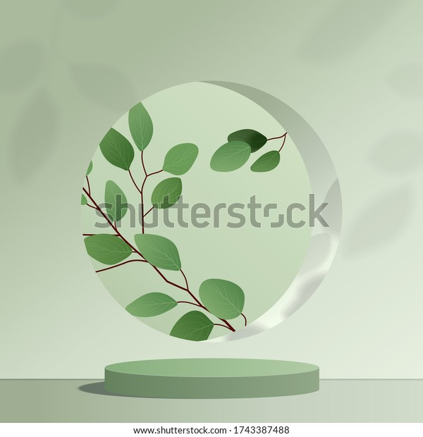 Abstract minimal scene with geometric forms. cylinder green podium in green background with leaves. product presentation, mock up, show cosmetic product, Podium, stage pedestal or platform. 3d vector