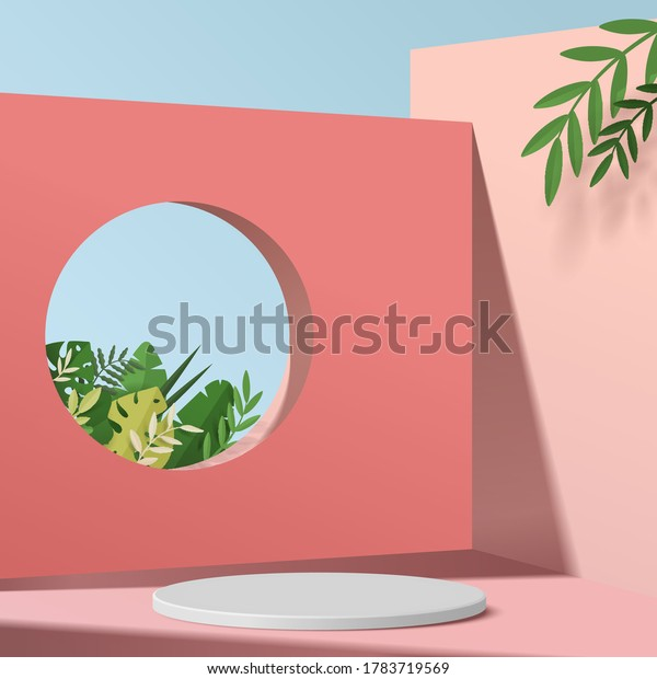 Abstract minimal scene with geometric forms. cylinder podium in pink background with green leaves. product presentation, mockup, show product, podium, stage pedestal or platform. 3d vector