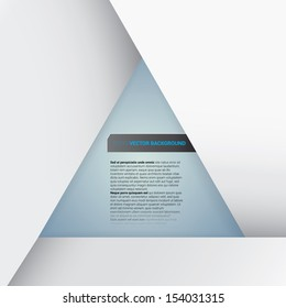 Abstract minimal triangle framed vector text box with delicate 3d shadows, overlap - layers composition for infographics, brochure page or cover & web banner ; triangle illustration for your design