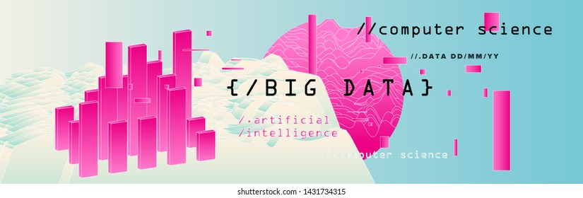 Abstract minimal vector background for Computer Analytics subject: statistical analysis, data mining and machine learning. Vaporwave/ synthwave futuristic neon aesthetics style.
